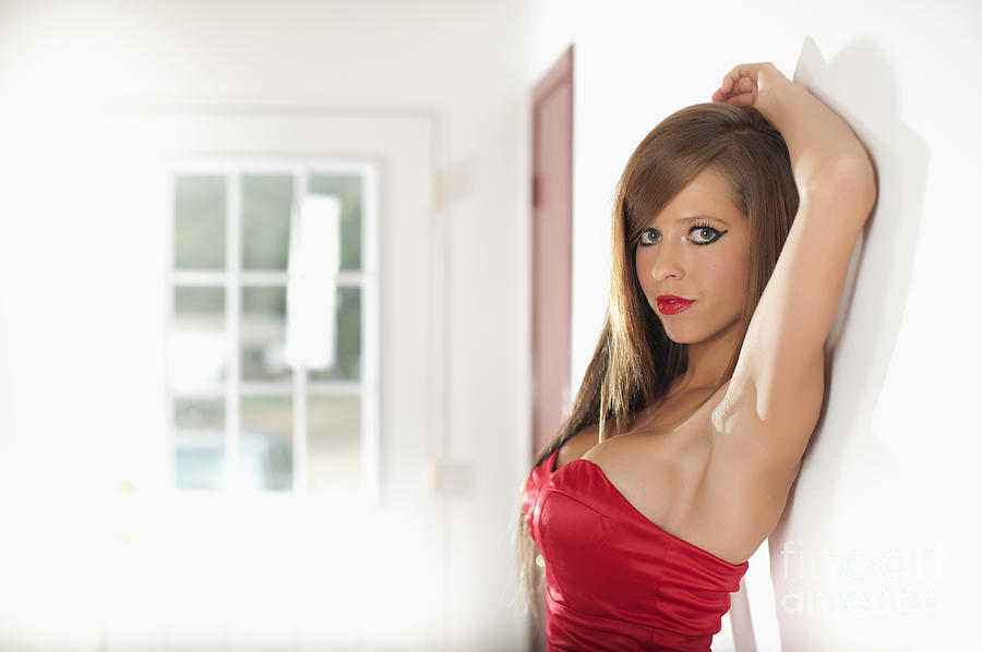 Sexy American Woman In Red Mini Dress Photograph  - Sexy American Woman In Red Mini Dress Fine Art Print