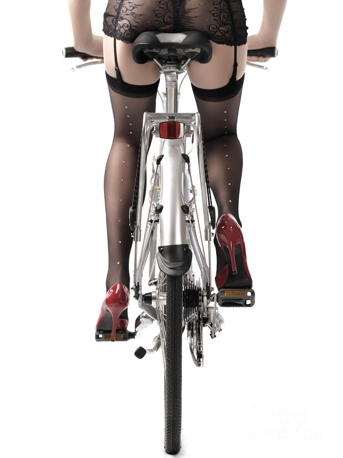 Sexy Woman Riding A Bike Photograph  - Sexy Woman Riding A Bike Fine Art Print