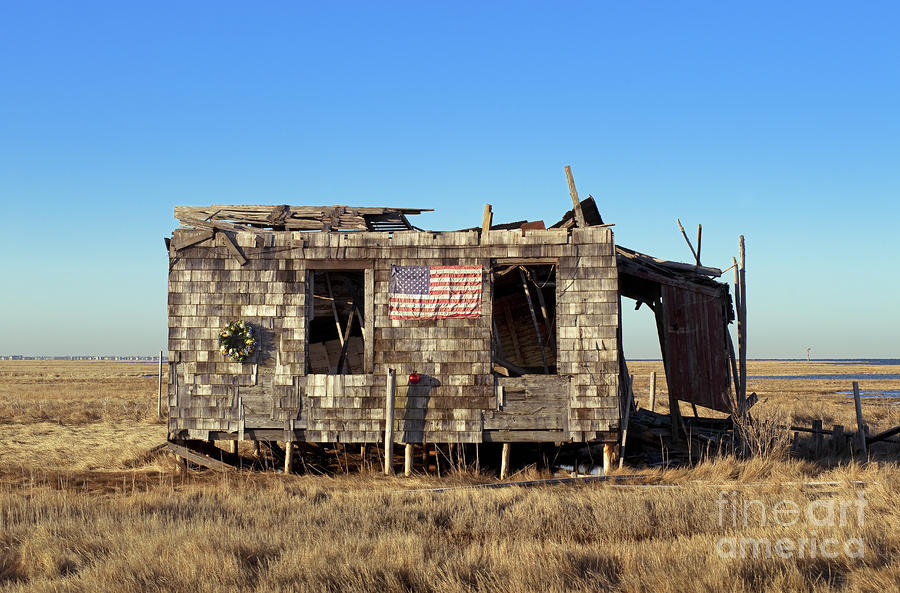 Shack With American Flag Photograph  - Shack With American Flag Fine Art Print