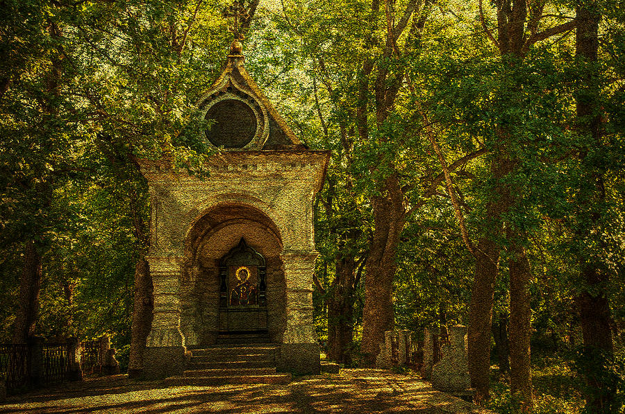 Shaded Chapel. Golden Green Series Photograph