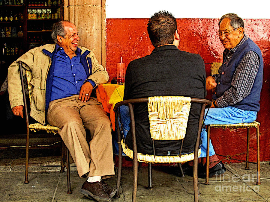 Sharing A Joke Over Coffee Photograph  - Sharing A Joke Over Coffee Fine Art Print
