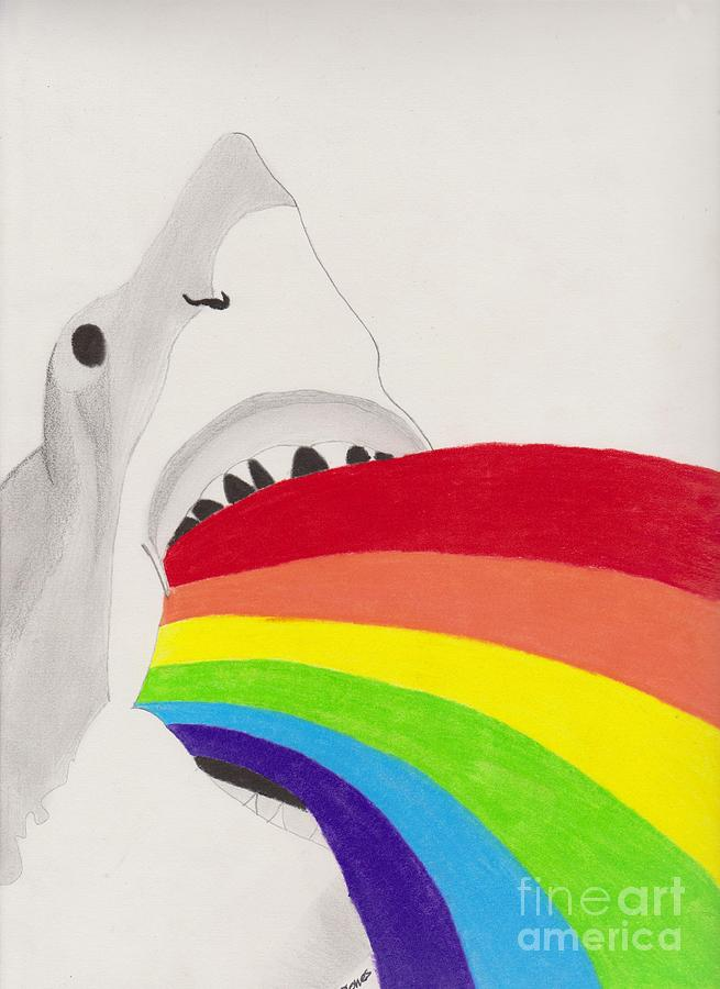 Rainbow Shark Drawing Shark Rainbow Drawing