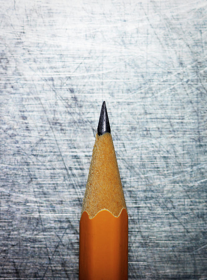 Sharpened Pencil On Stainless Steel. Photograph  - Sharpened Pencil On Stainless Steel. Fine Art Print