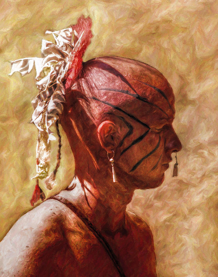 Shawnee Indian Warrior Portrait Digital Art  - Shawnee Indian Warrior Portrait Fine Art Print