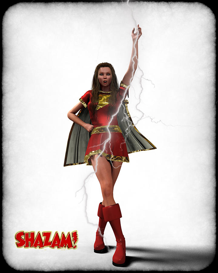 Shazam - Mary Marvel Digital Art  - Shazam - Mary Marvel Fine Art Print