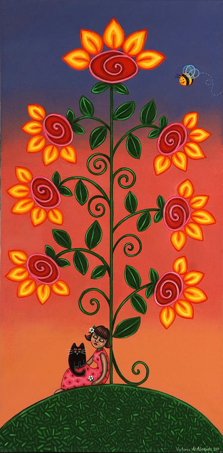 Flowering Tree Painting - She Is Life by Victoria De Almeida