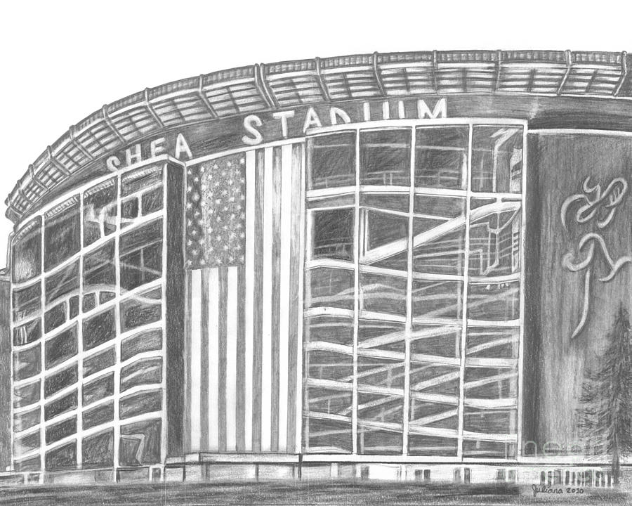 Shea Stadium Drawing  - Shea Stadium Fine Art Print