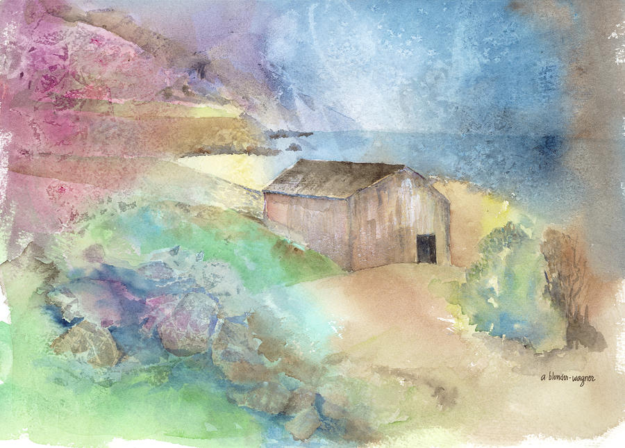 Shed By A Lake In Ireland Painting  - Shed By A Lake In Ireland Fine Art Print