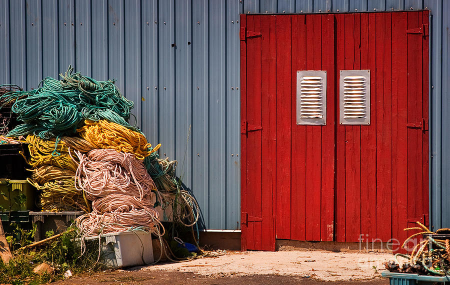 Shed Doors And Tangled Nets Photograph  - Shed Doors And Tangled Nets Fine Art Print