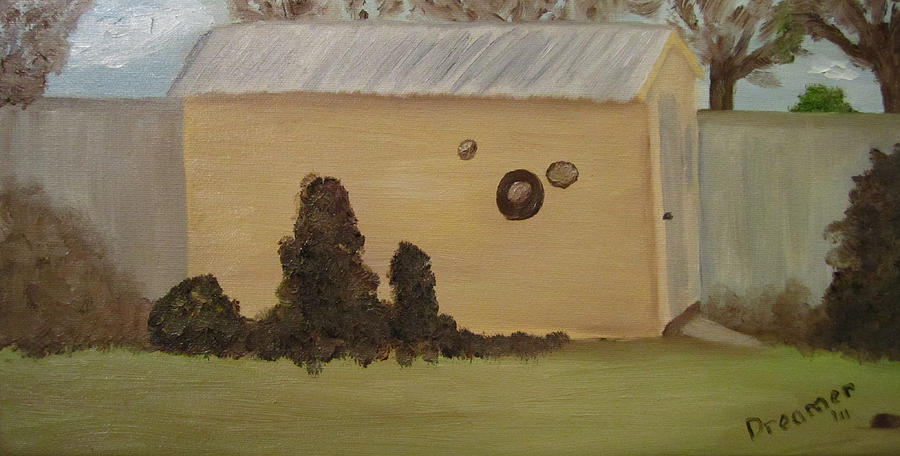 Shed In Winter Painting