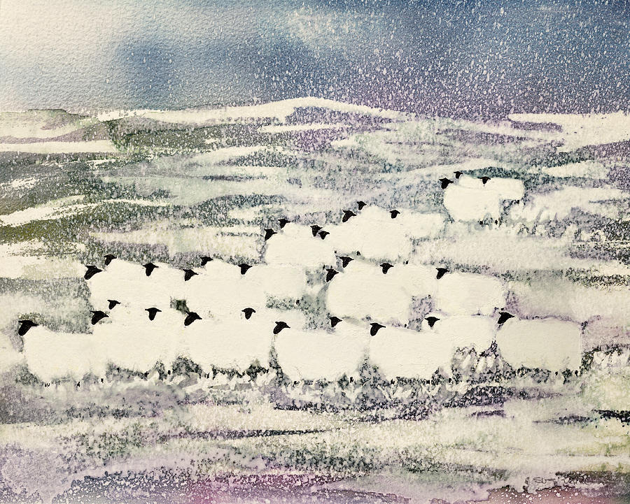 Sheep In Winter Painting  - Sheep In Winter Fine Art Print