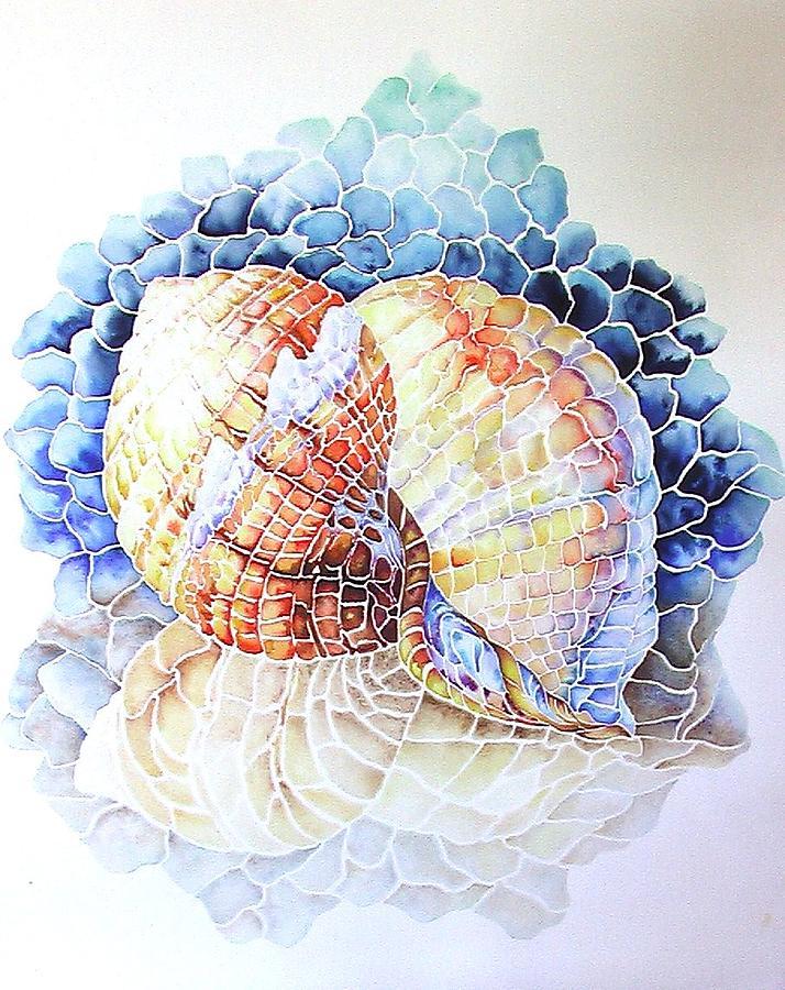Shell Mosaic Watercolor By Nancy Hartson Miller