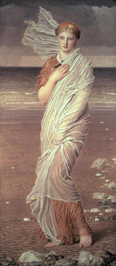 Shells By Albert Joseph Moore (1841-93) Beach; Portrait; Female; Victorian; Female Painting - Shells  by Albert Joseph Moore