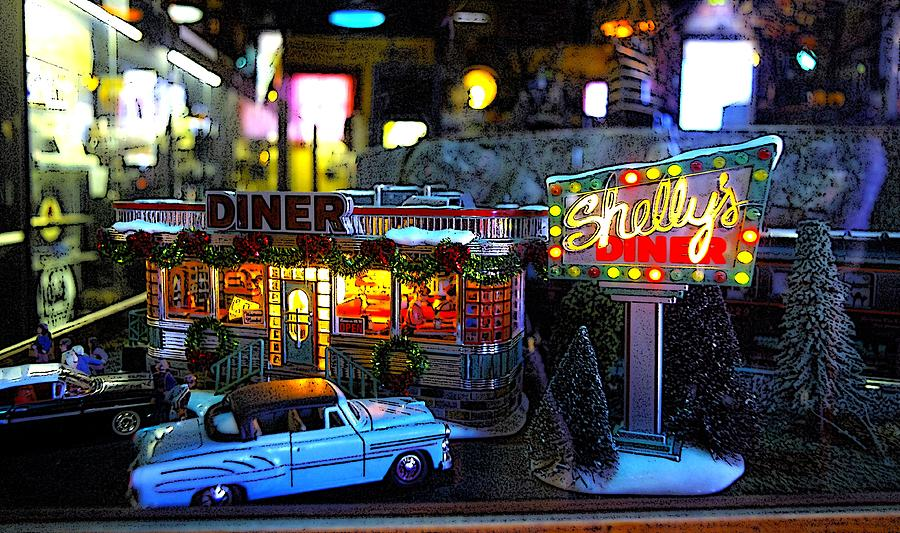 Shelly 39 s diner digital art by rachel katic for Diner artwork