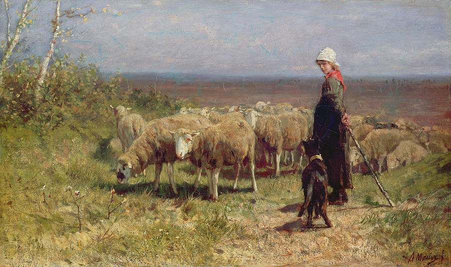 Shepherdess Painting  - Shepherdess Fine Art Print