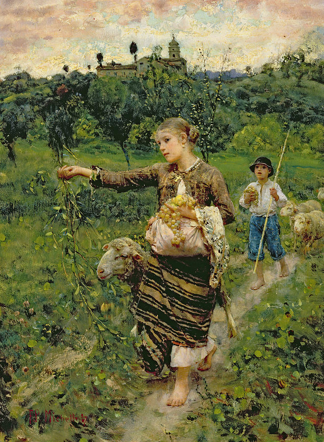 Shepherdess Carrying A Bunch Of Grapes Painting  - Shepherdess Carrying A Bunch Of Grapes Fine Art Print