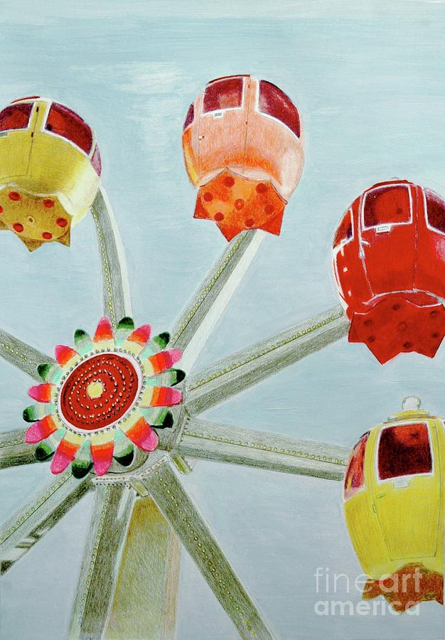 Sherbert Ferris Wheel Drawing  - Sherbert Ferris Wheel Fine Art Print