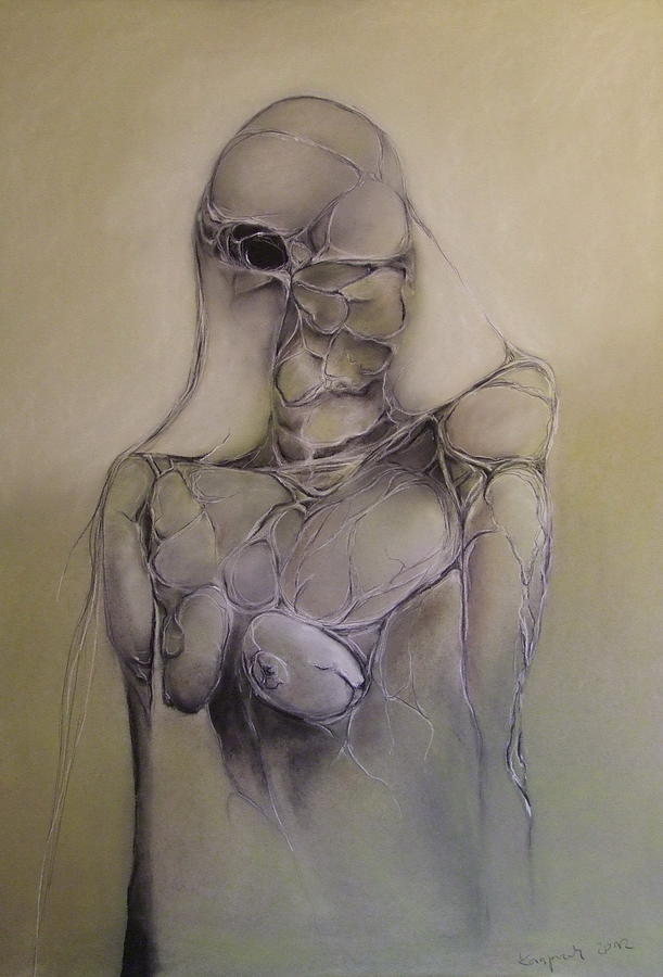 Surreal Portrait Pastel - Shes Looking by Marek Kasprzak