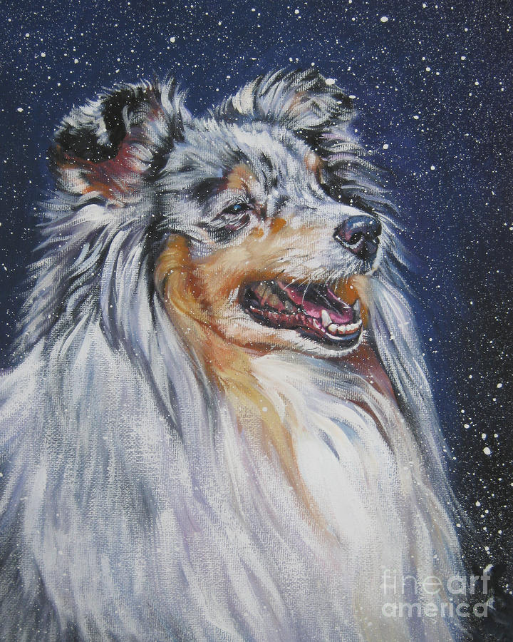 Shetland Sheepdog In Snow Painting
