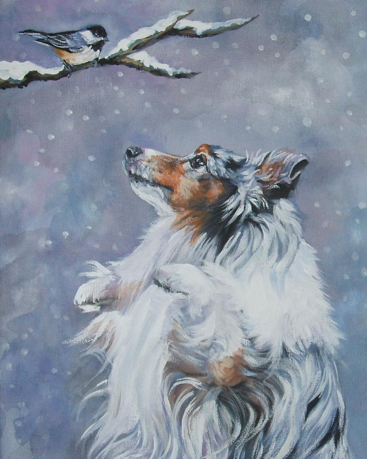 Shetland Sheepdog With Chickadee Painting