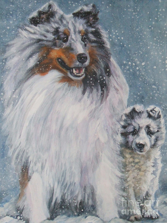 Shetland Sheepdogs In Snow Painting