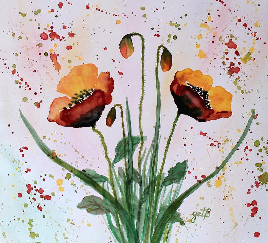 Shining Red Poppies Watercolor Painting Painting By
