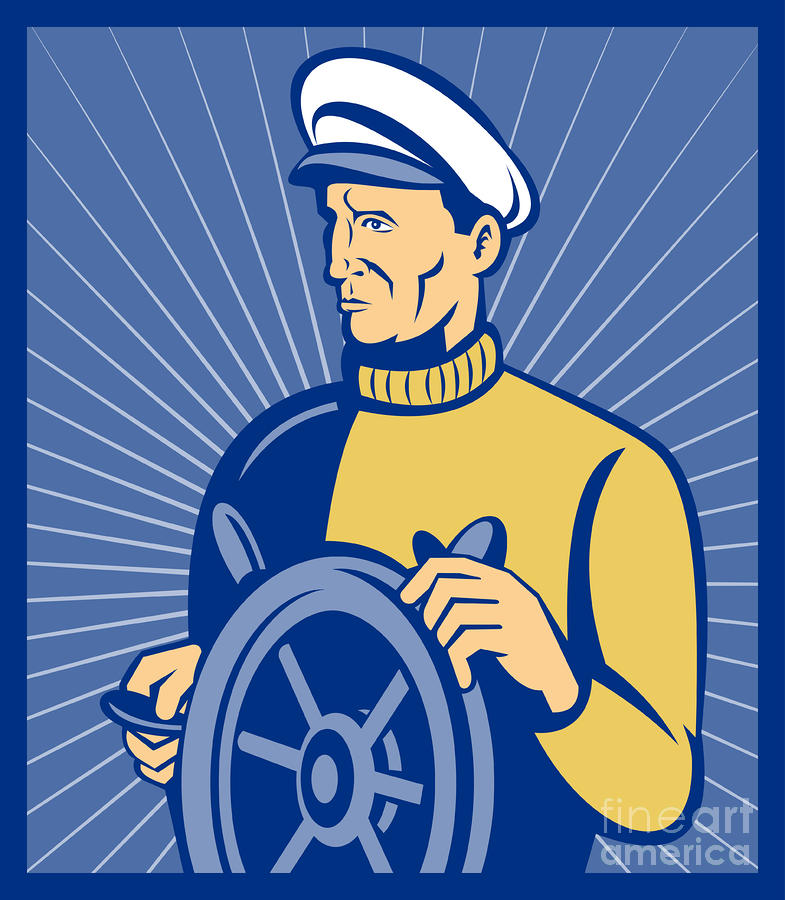 Ship Captain At The Helm  Digital Art