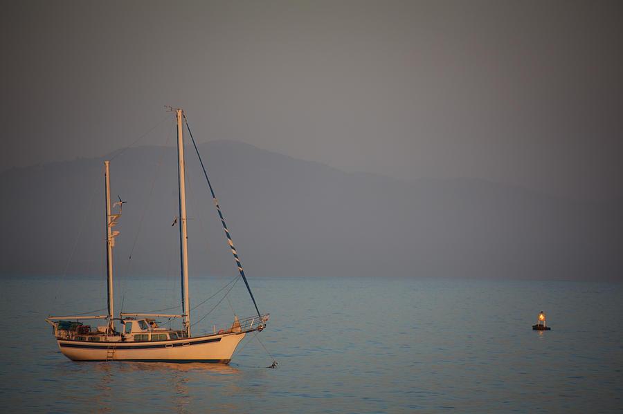 Ship In Warm Light Photograph