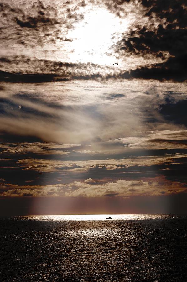 Ship Mediterranean Europe Sun Ray Ocean Sea Cloud Wave Light Clouds Photograph - Ship  by Micael  Carlsson