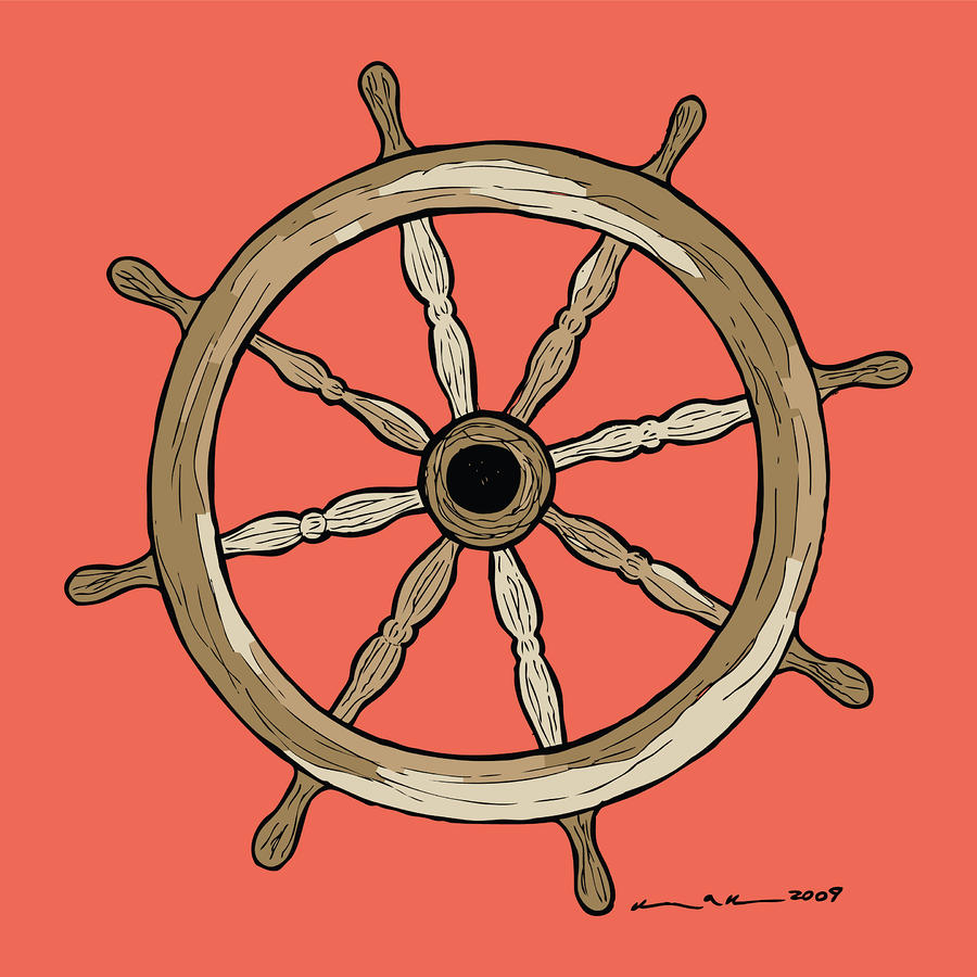 Ship Wheel Drawing  - Ship Wheel Fine Art Print
