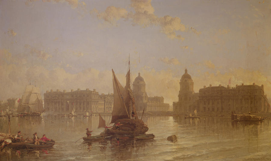 Shipping On The Thames At Greenwich Painting  - Shipping On The Thames At Greenwich Fine Art Print