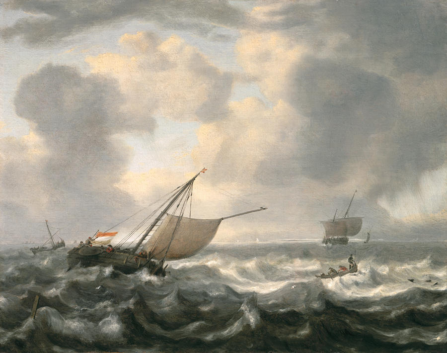 Ships On A Choppy Sea Painting