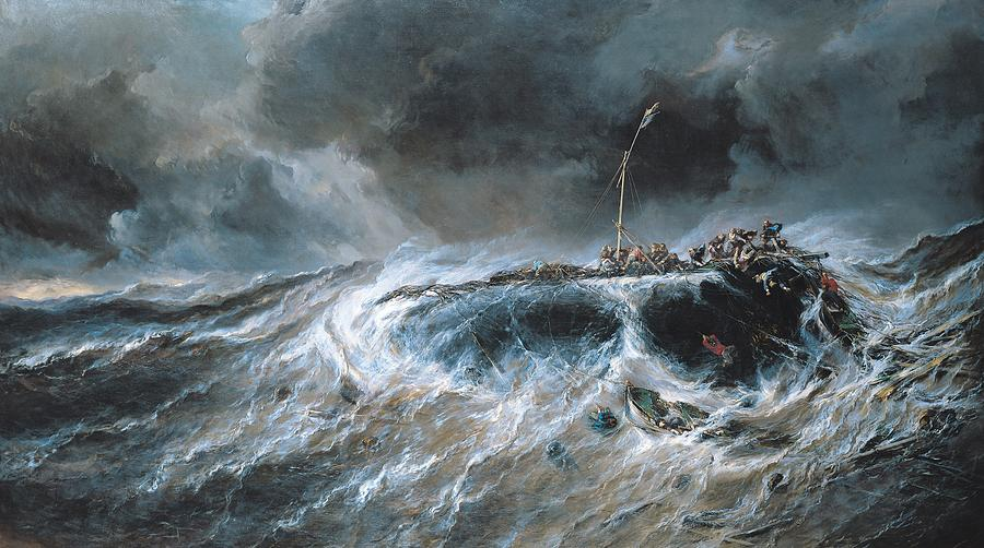 Boat Painting - Shipwreck by Louis Isabey