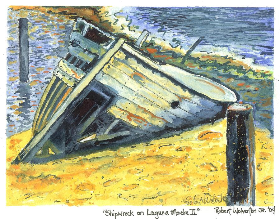 Shipwreck On Laguna Madre II Painting  - Shipwreck On Laguna Madre II Fine Art Print