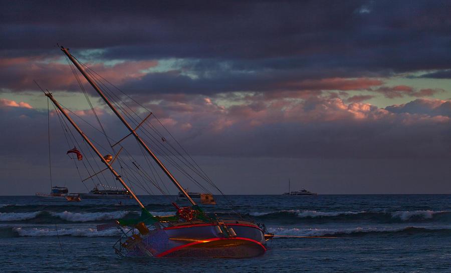 Maui Hawaii Lahaina Harbor Sunset Maui Canvas Ocean Photograph - Shipwrecked by James Roemmling