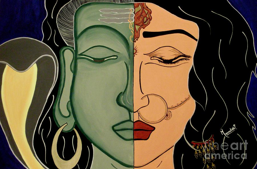 Shiva Painting - Shiv-shakti by Meenakshi Malhotra