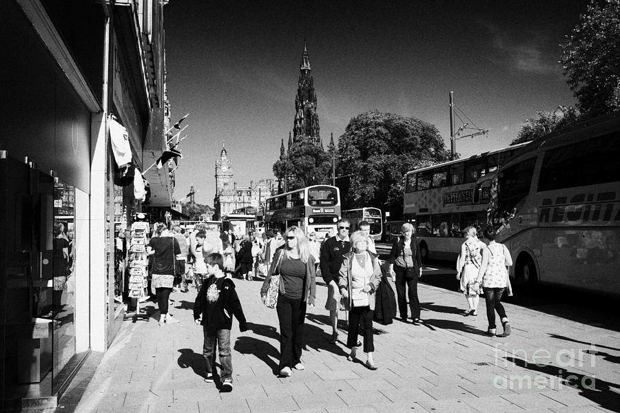 Shoppers And Tourists On Princes Street Edinburgh Scotland Uk United Kingdom Photograph