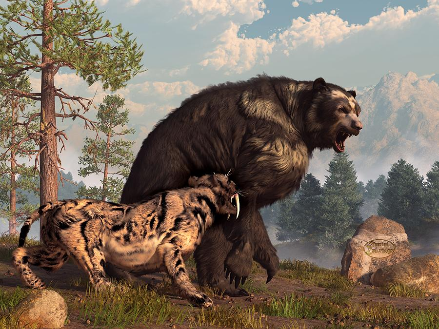 Short-faced Bear And Saber-toothed Cat Digital Art