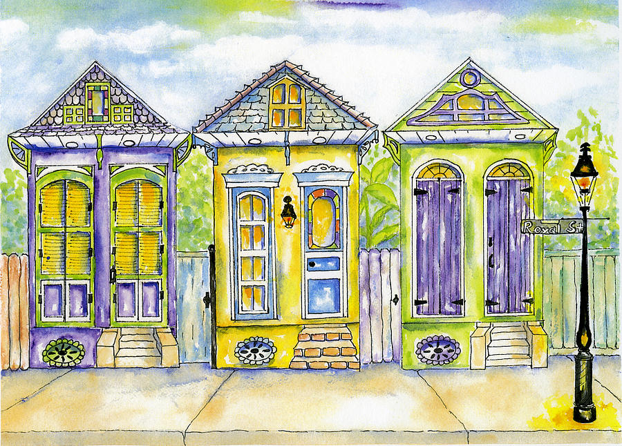 Shotgun Houses Painting  - Shotgun Houses Fine Art Print