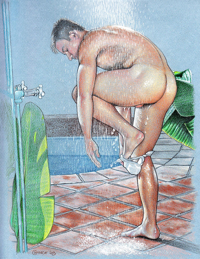 Shower Drawing  - Shower Fine Art Print