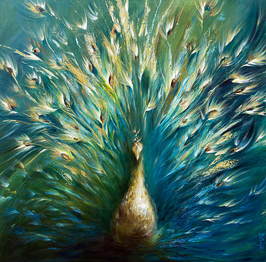 Showoff 3  White Peacock Painting  - Showoff 3  White Peacock Fine Art Print