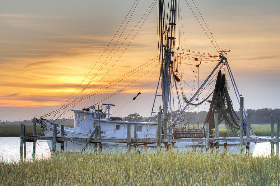Shrimp Boat Sunset Charleston Sc Photograph