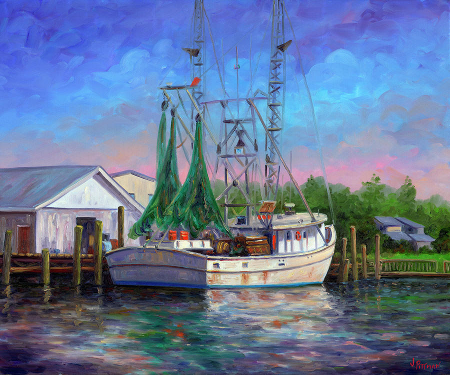 Shrimper At Harbor Painting  - Shrimper At Harbor Fine Art Print