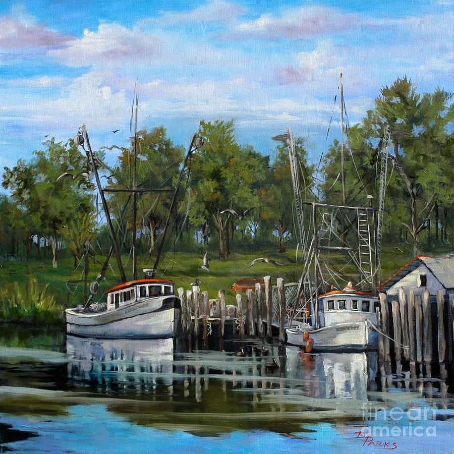 Shrimping Boats Painting  - Shrimping Boats Fine Art Print