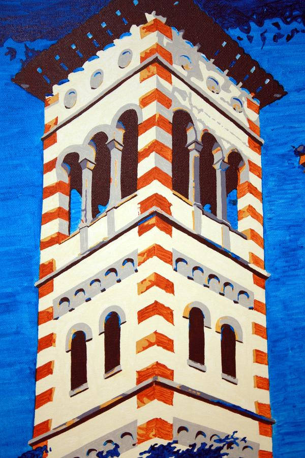 Shrine Bell Tower Detail Painting  - Shrine Bell Tower Detail Fine Art Print