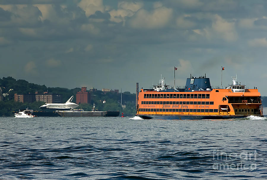 Shuttle Enterprise Glides Past Staten Island Ferry Photograph