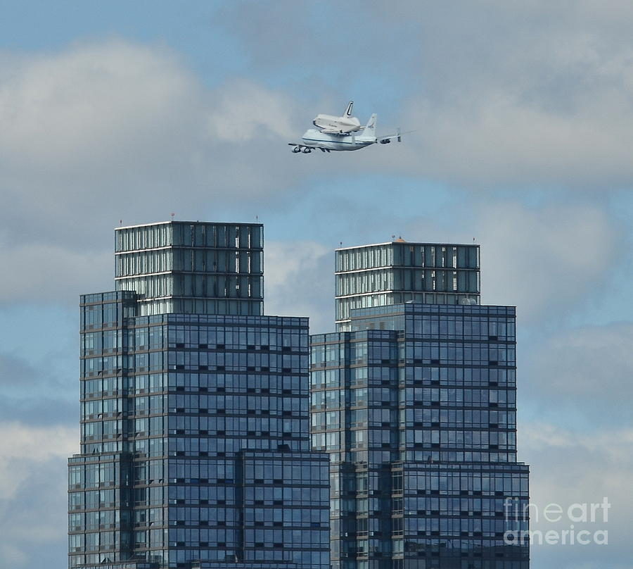 Shuttle Enterprise Over Nyc 2 Painting  - Shuttle Enterprise Over Nyc 2 Fine Art Print