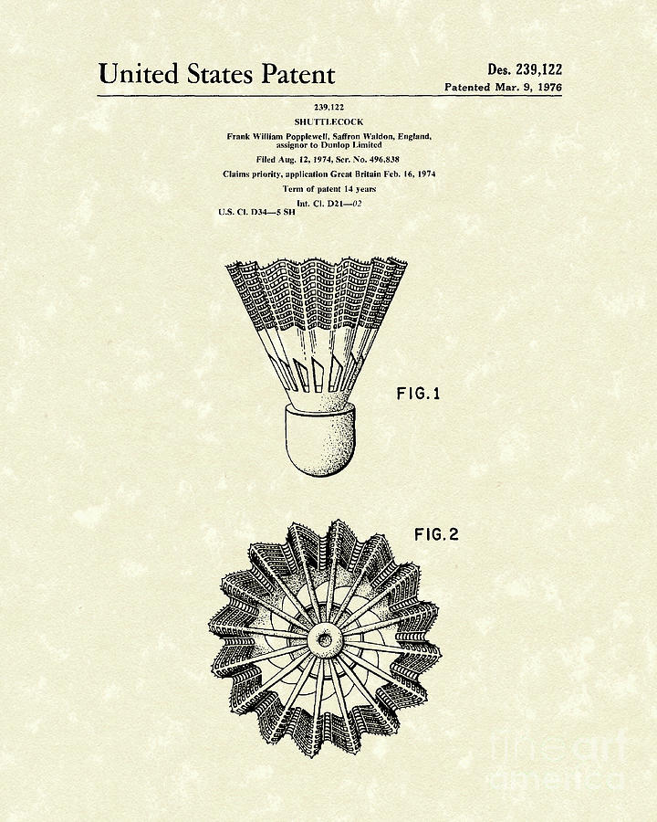 Shuttlecock 1976 Patent Art Drawing