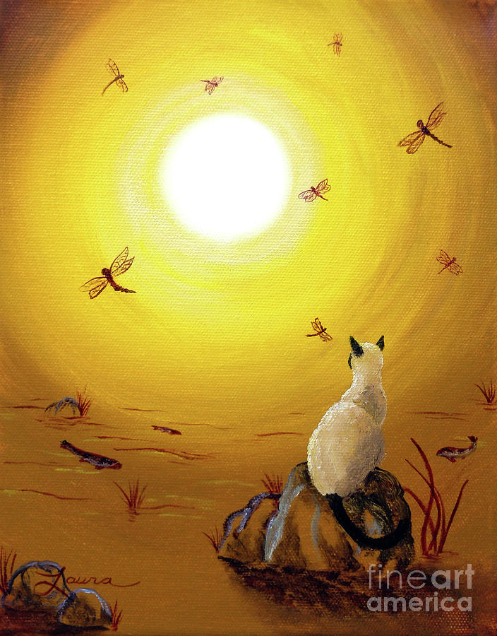 Siamese Cat With Red Dragonflies Painting  - Siamese Cat With Red Dragonflies Fine Art Print