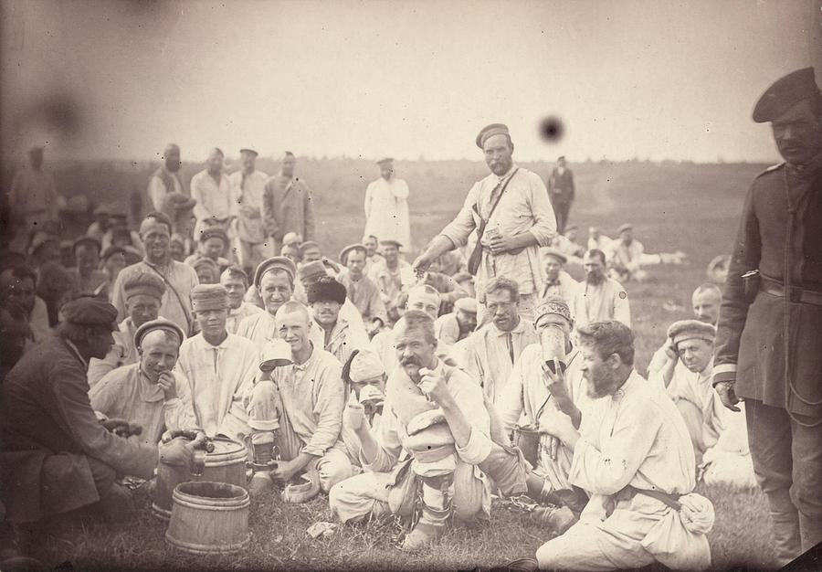 Siberia, Siberian Convicts Taking Lunch Photograph  - Siberia, Siberian Convicts Taking Lunch Fine Art Print